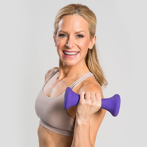 Shoulder, Arm, Muscle, Joint, Skin, Dumbbell, Hand, Fitness professional, Blond, Wrist,