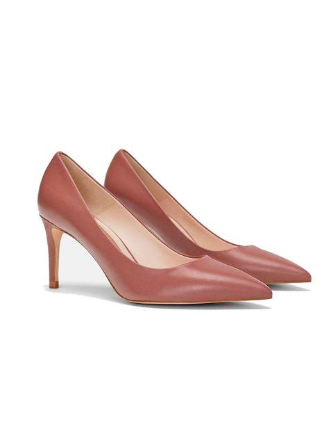 Footwear, Court shoe, High heels, Shoe, Tan, Beige, Leather, Slingback, Basic pump, Sandal,