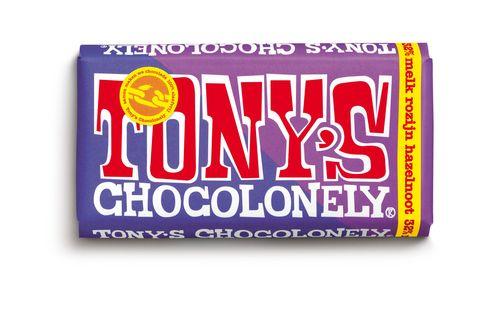 tony's chocolonely estafettereep melk, rozijn, hazelnoot
