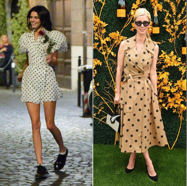 Clothing, Fashion model, Fashion, Polka dot, Street fashion, Dress, Pattern, Design, Footwear, Black-and-white,