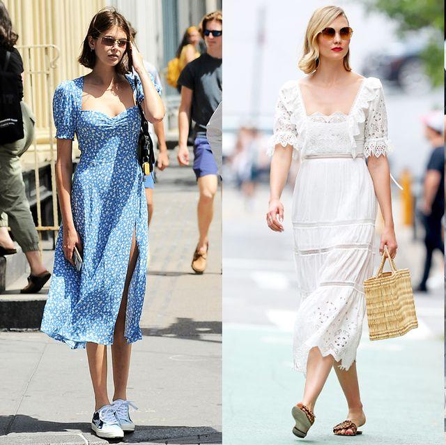 Clothing, White, Street fashion, Dress, Fashion, Footwear, Fashion model, Sandal, Yellow, Shoe,