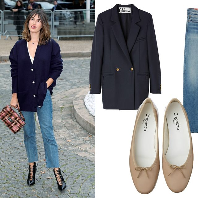 Footwear, Jeans, Clothing, Denim, Shoe, Fashion, Blazer, Ballet flat, Plimsoll shoe, Street fashion,