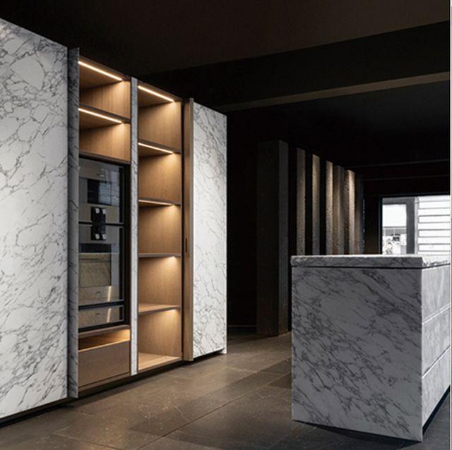 Furniture, Room, Interior design, Table, Plywood, Floor, Shelf, Wood, Desk, Building,
