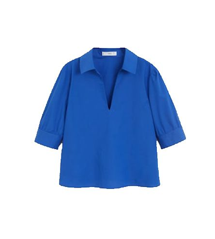Clothing, Cobalt blue, Blue, Sleeve, Electric blue, Collar, Blouse, Turquoise, Shirt, Outerwear,