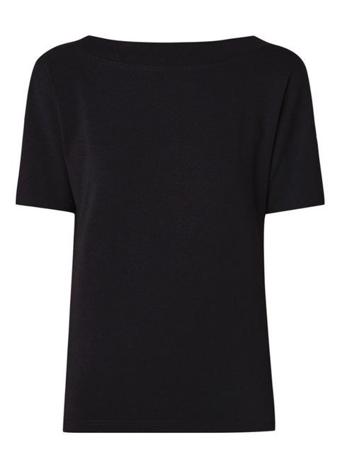 Clothing, T-shirt, Black, Sleeve, Neck, Top, Active shirt, Blouse,