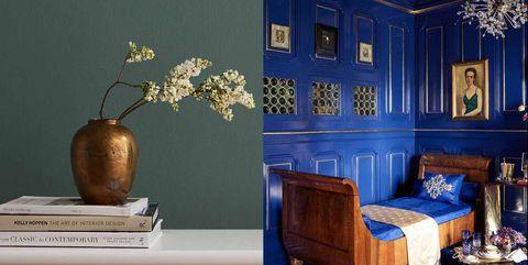 Blue, Room, Cobalt blue, Interior design, Wall, Furniture, Majorelle blue, Wallpaper, Living room, Still life,