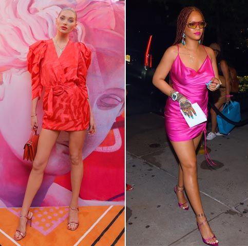 Fashion model, Clothing, Pink, Fashion, Dress, Footwear, Cocktail dress, Magenta, Shoulder, Street fashion,