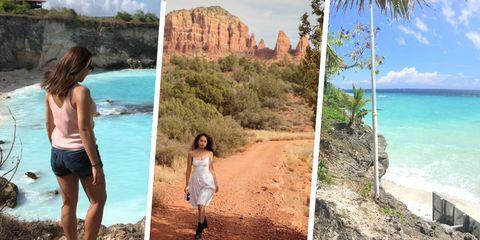 Vacation, Tourism, Travel, Summer, Coast, Fun, Rock, Cliff, Shorts, Coastal and oceanic landforms,