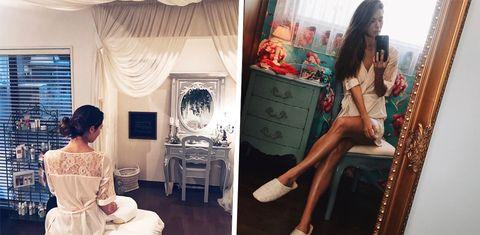 Clothing, Dress, Fashion, Room, Fashion design, Footwear, Sitting, Long hair, Shoe, Interior design,
