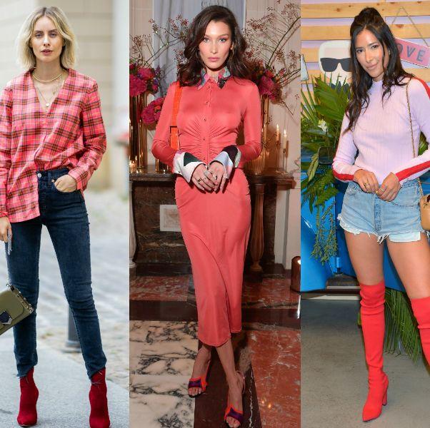 Clothing, Jeans, Street fashion, Fashion, Pink, Red, Footwear, Orange, Denim, Knee-high boot,