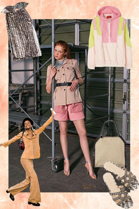 Fashion, Pink, Outerwear, Fashion design, Umbrella, Fashion accessory, Peach,