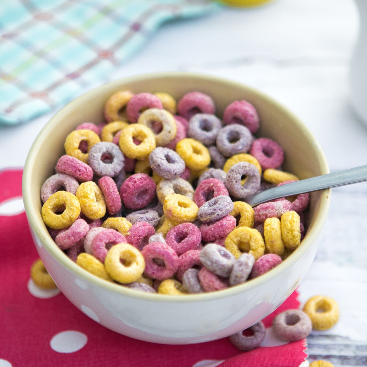 top view bowl of colorful loops cereals for breakfast