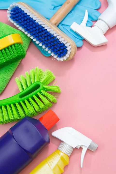 Top view Cleaning set tool service on pink background