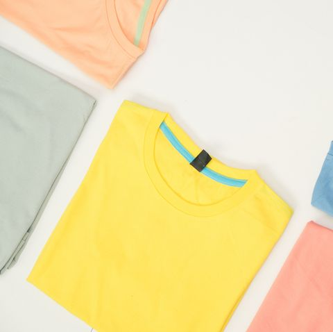 top view colourful t shirt collage and compose