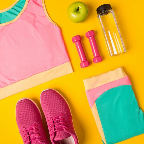 Top view, flat lay. Mockup. Sports and fitness background.
