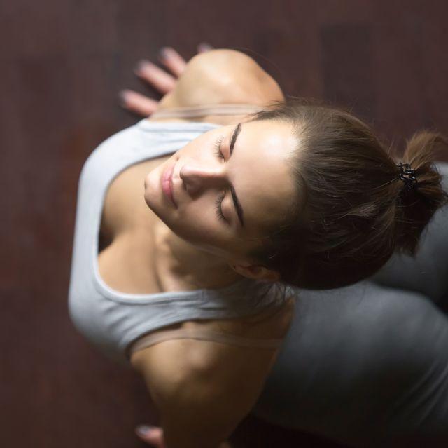 top view of upward facing dog or cobra yoga pose