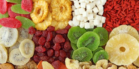 Top view of variety of dried fruits