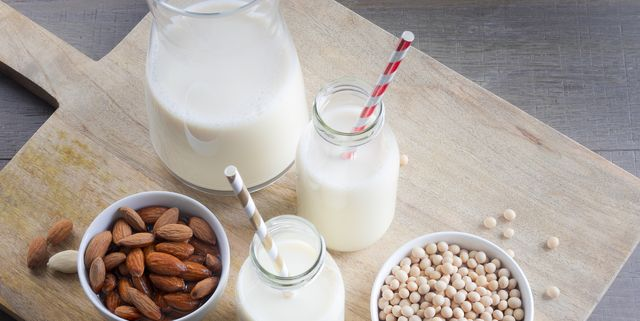 top view of vegan drinks, almond milk and soy milk