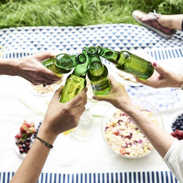 women clinking beer bottles at a picnic in the park