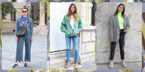 Clothing, Jeans, Street fashion, Denim, Green, Fashion, Jacket, Outerwear, Footwear, Trousers,