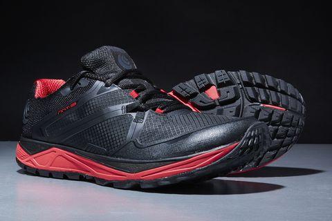 Shoe, Footwear, Outdoor shoe, Black, White, Red, Walking shoe, Sportswear, Running shoe, Cross training shoe,