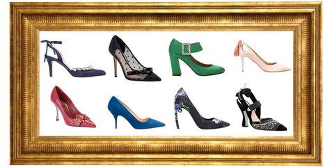 Footwear, High heels, Shoe, Font, Brand, Basic pump, Court shoe,