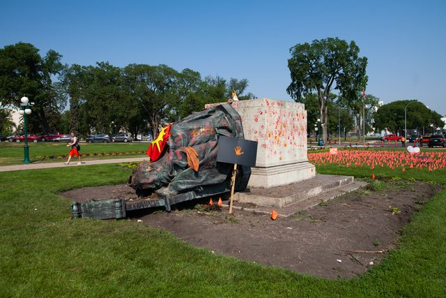 toppled statues in canada