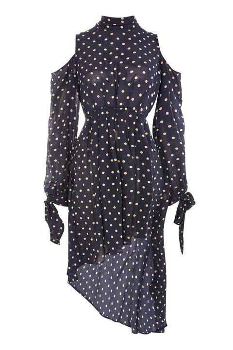 Clothing, Black, Pattern, Polka dot, Dress, Outerwear, Design, Coat, Sleeve, Day dress,