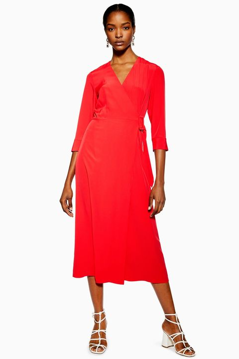 Topshop buckle wrap midi dress