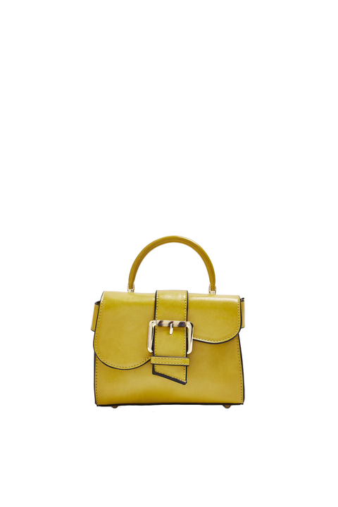 Handbag, Bag, Shoulder bag, Yellow, Fashion accessory, Leather, Beige, Material property, Satchel, Luggage and bags,