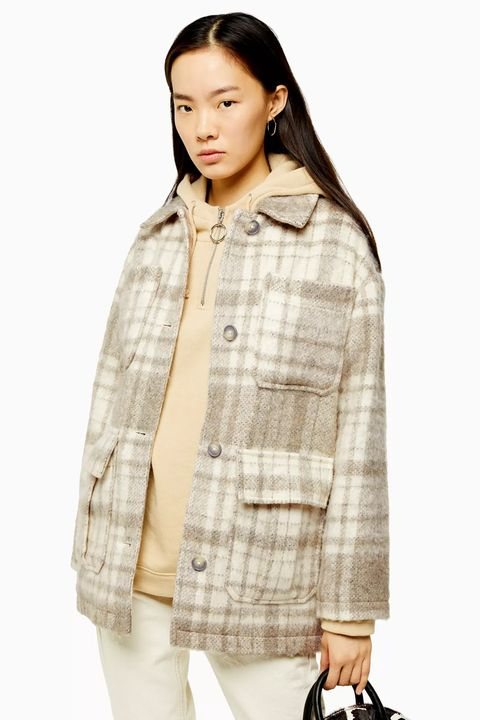 Topshop Cream Check Jacket