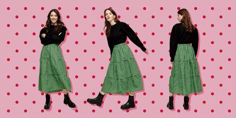 Clothing, Pattern, Polka dot, Dress, Pink, Fashion, Pattern, Design, Footwear, Day dress,