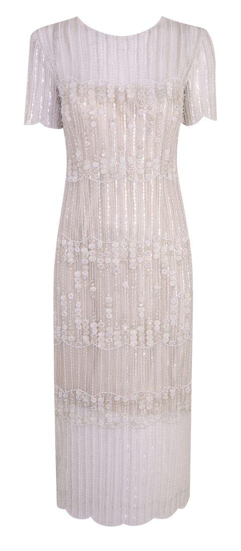 Clothing, Dress, Brown, Pattern, Textile, White, One-piece garment, Formal wear, Day dress, Fashion,