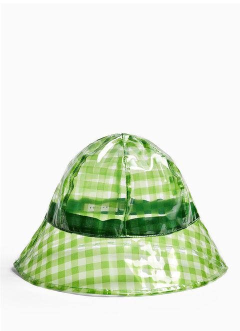 green gingham bucket hat
