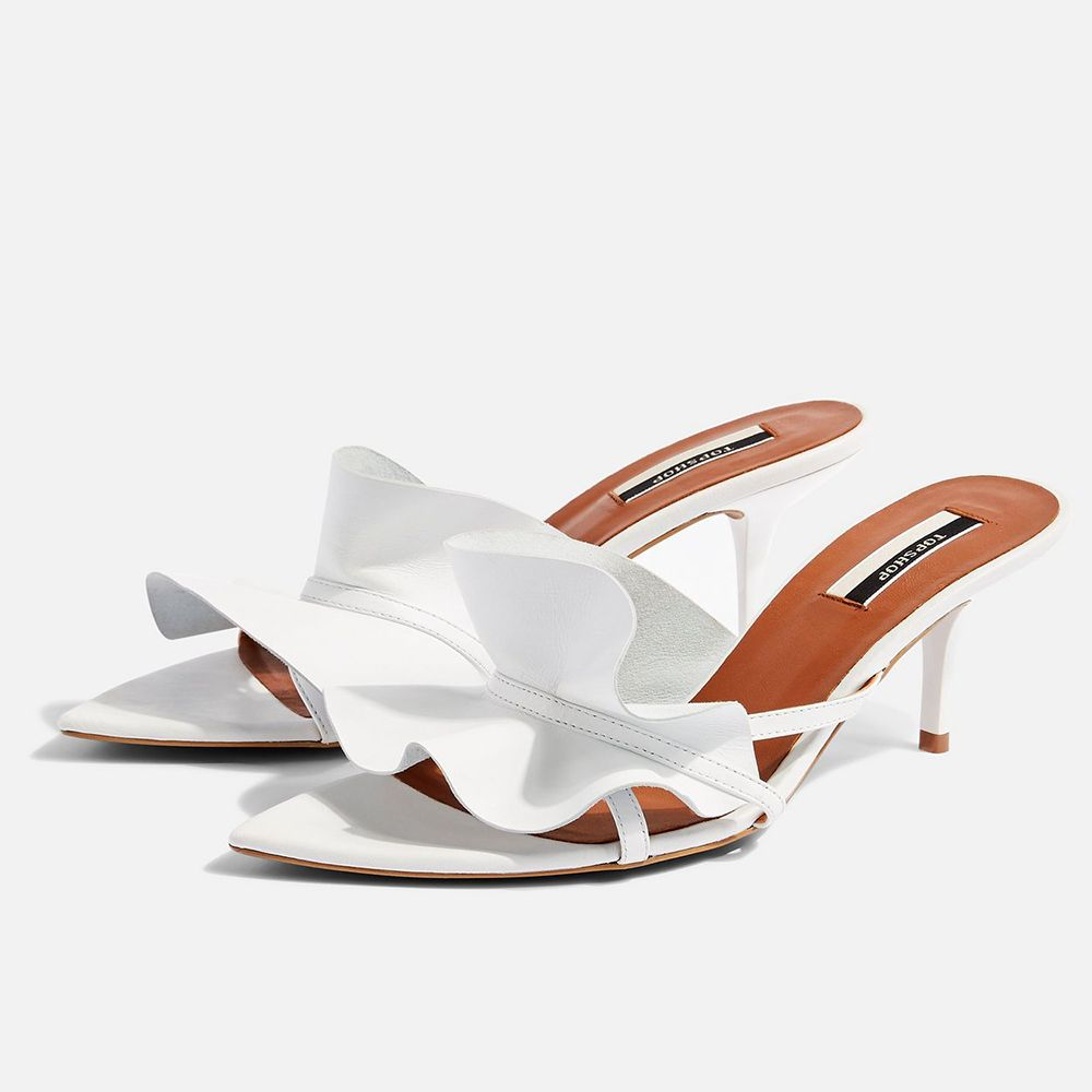 Topshop Ruffle Point V Mules
