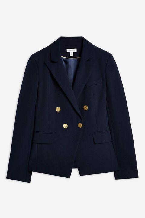 Topshop Navy Gold Button Blazer