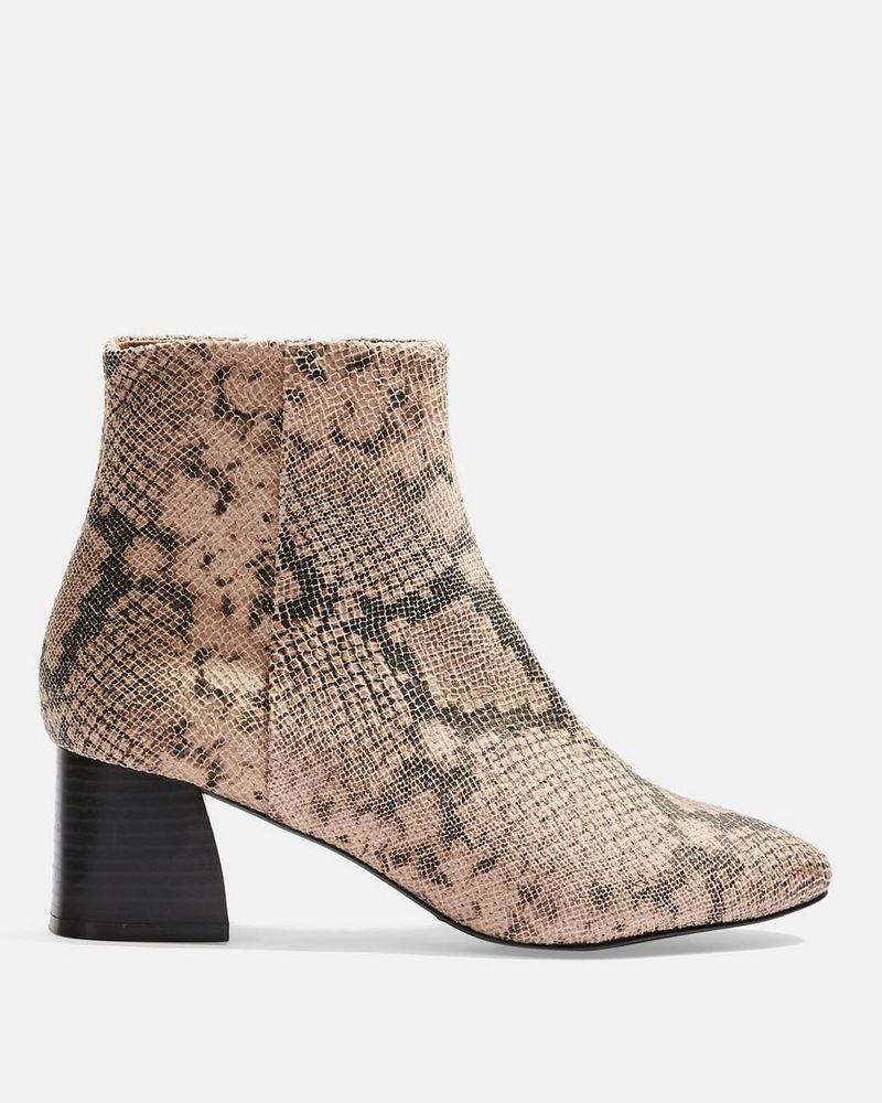 Topshop snake print ankle boots