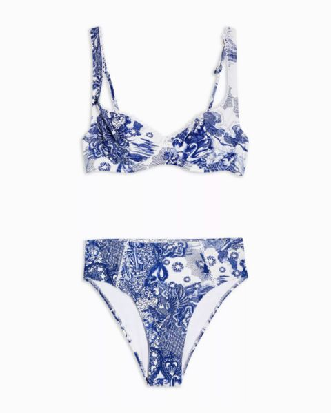 topshop blue and white swan bikini set   £3200