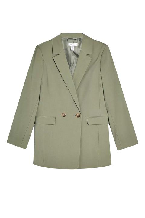 Clothing, Outerwear, Jacket, Blazer, Suit, Beige, Sleeve, Formal wear, Coat, Button,