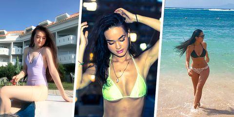 Bikini, Clothing, Swimwear, Model, Beauty, Summer, Undergarment, Photography, Photo shoot, Brown hair,