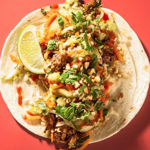 Dish, Food, Cuisine, Korean taco, Chilorio, Taco, Ingredient, Gringas, Meat, Gordita,