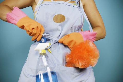 Torso of woman with cleaning supplies