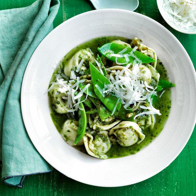 tortellini and pesto snow peas recipe