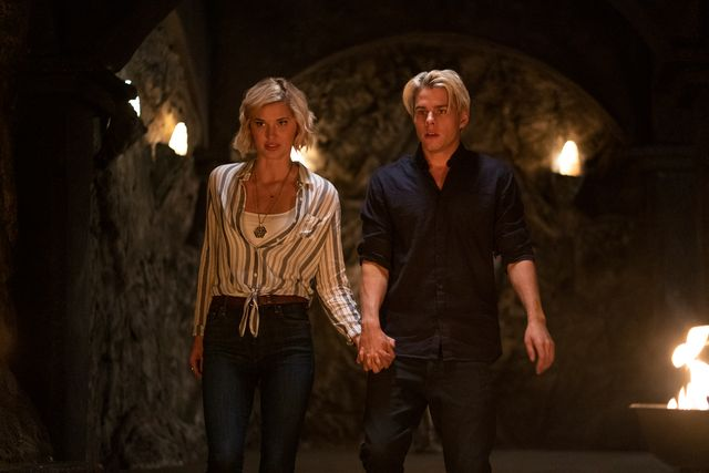 the order l to r jake manley as jack morton and sarah grey as alyssa drake in episode 202 of the order cr daniel powernetflix © 2020