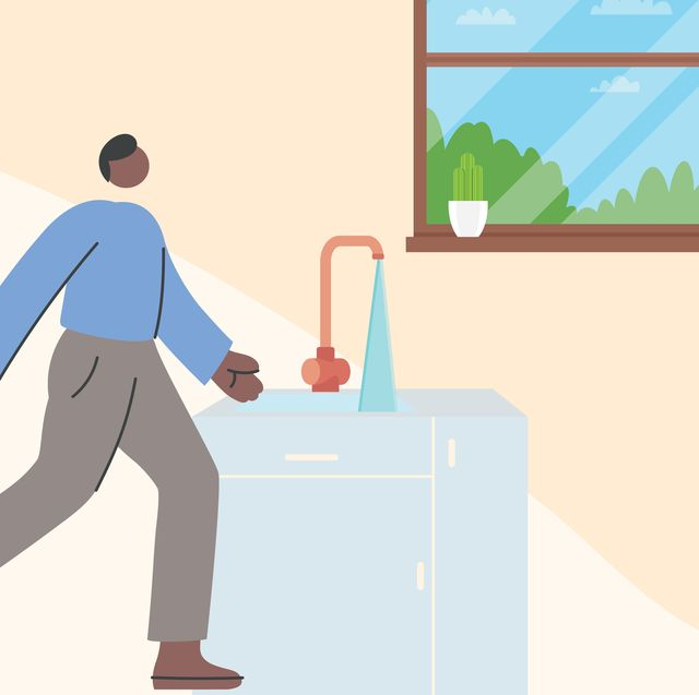 illustration of a person using a touchless kitchen faucet