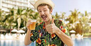 Tourist drinking beer