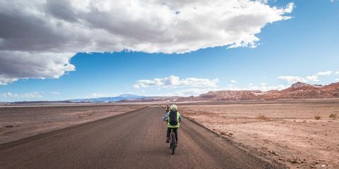 Sky, Road, Cloud, Cycling, Asphalt, Natural environment, Vehicle, Bicycle, Landscape, Infrastructure,