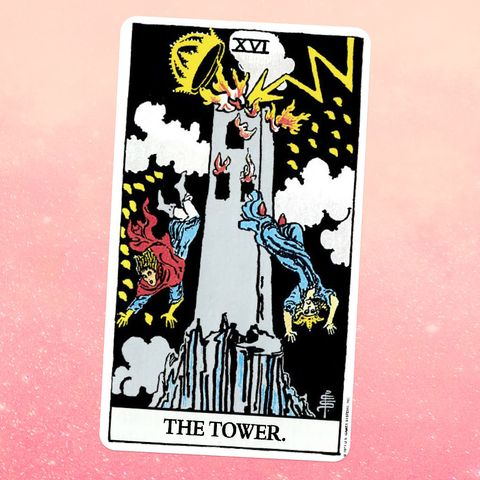 the tarot card the tower, showing a tower being struck by lightning with people falling off of it