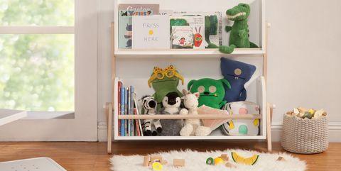 Room, Furniture, Product, Shelf, Green, Interior design, Table, Shelving, Floor, Toy,