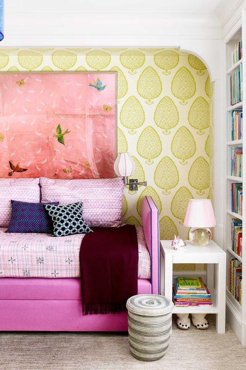 Pink, Room, Furniture, Wall, Green, Wallpaper, Purple, Interior design, Living room, Bedroom,